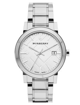 large-check-stamped-bracelet-watch,-38mm by burberry