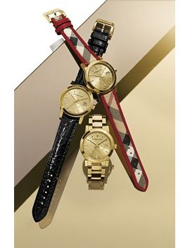 check-stamped-round-leather-strap-watch,-34mm by burberry