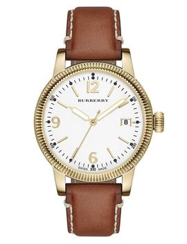 utilitarian-round-leather-strap-watch,-38mm by burberry
