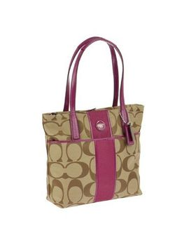 coach-signaure-stripe-small-tote---khaki_passion-berry by coach