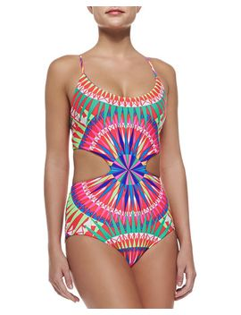 strappy-back-printed-cutout-one-piece-swimsuit by mara-hoffman
