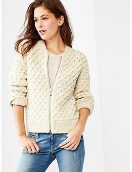 cable-knit-bomber-jacket by gap