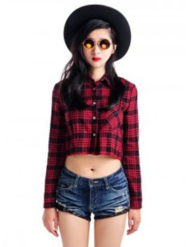 red-plaid-long-sleeves-crop-shirt by choies
