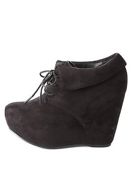cuffed-lace-up-wedge-booties by charlotte-russe