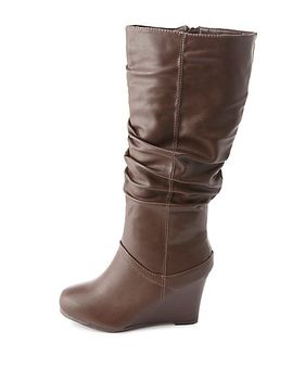 bamboo-slouchy-wedge-boots by charlotte-russe