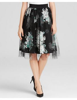 skirt---monica-floral-print-with-tulle-overlay by milly