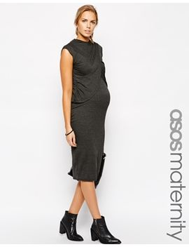 asos-maternity-exclusive-body-conscious-dress-with-high-neck-and-wrap-over by asos-maternity