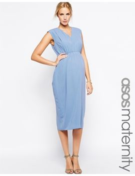 asos-maternity-pencil-dress-with-blouson-and-v-neck by asos-maternity