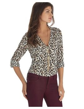 animal-print-long-sleeve-surplice-blouse by whbm