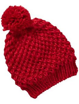 womens-sweater-knit--pom-pom-hats by old-navy