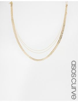asos-curve-multirow-leaf-choker-necklace by asos-curve