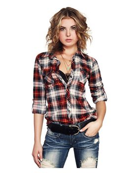 soft-plaid-knit-pocket-shirt by wet-seal