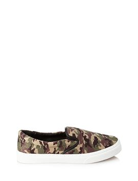camo-pony-hair-slip-ons by forever-21
