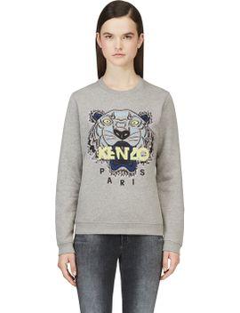 grey-kenzo-tiger-crewneck-sweatshirt by kenzo