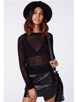 bronwyn-fine-knit-zip-back-sweater-black by missguided