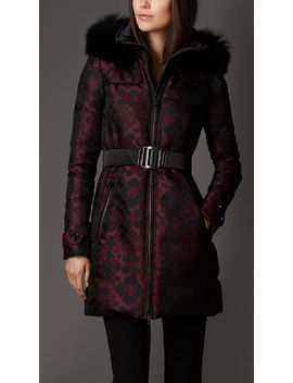silk-blend-down-filled-coat-with-fox-trim by burberry