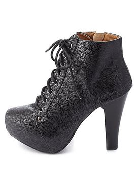 textured-high-heel-lace-up-booties by charlotte-russe