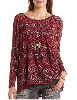 oversized-tribal-print-top by charlotte-russe