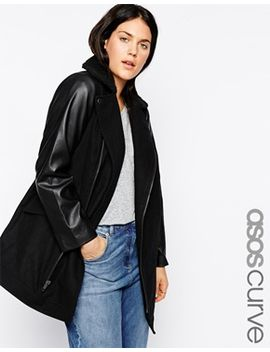 asos-curve-exclusive-coat-with-leather-look-sleeves by asos-curve