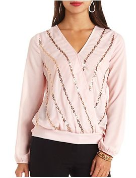 sequin-striped-long-sleeve-chiffon-top by charlotte-russe