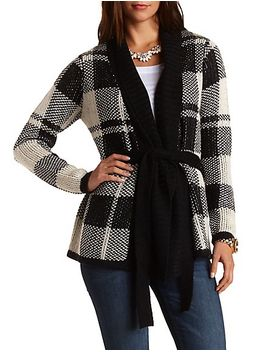 plaid-belted-tunic-length-cardigan by charlotte-russe