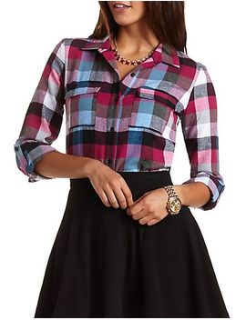 buffalo-plaid-button-up-top by charlotte-russe