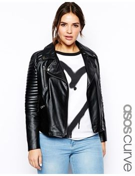 asos-curve-exclusive-leather-biker-jacket by asos-curve