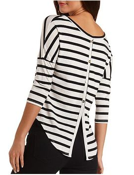 button-back-striped-high-low-tee by charlotte-russe