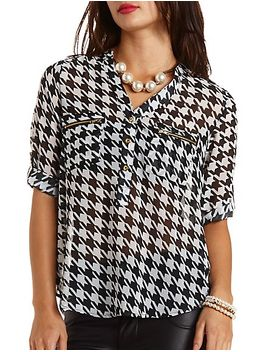 zipper-pocket-houndstooth-chiffon-top by charlotte-russe