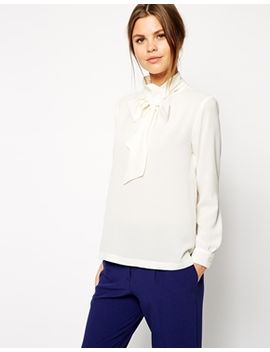 asos-long-sleeve-pussy-bow-top by asos-collection