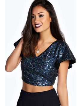 darcy-cape-sleeve-all-over-sequin-top by boohoo