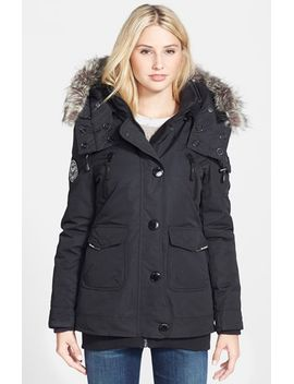 mid-length-parka-with-faux-fur-trim by noize