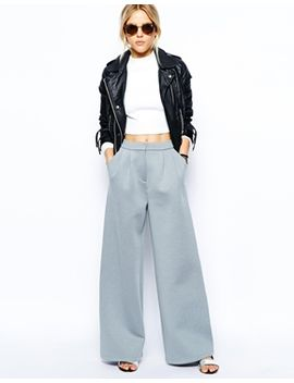 asos-wide-leg-pants-in-premium-bonded-scuba by asos-collection