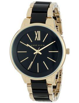 anne-klein-womens-ak_1412bkgb-gold-tone-and-black-dress-watch by anne-klein