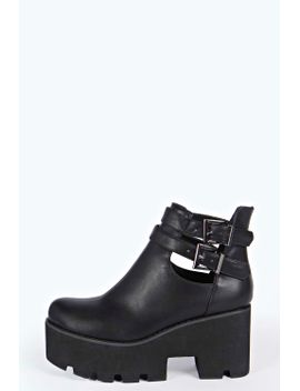 eve-buckle-side-cut-work-cleated-boot by boohoo