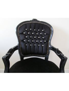 lyla-roze-black-velvet-crystal-diamante-french-shabby-chic-louis-armchair-salon-bedroom-chair by lylaroze