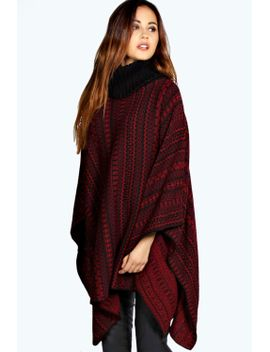 diana-patterned-cowl-neck-knitted-cape by boohoo
