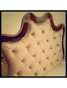 mirrored-headboard,-tufted-headboard,-diamond-buttons-nails,-wide-trim,-custom-made-headboard,-other-colors-and-shapes-available by rsmithdesignsstudio