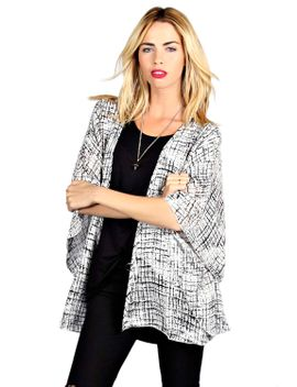kristy-sketchy-grid-print-kimono by boohoo