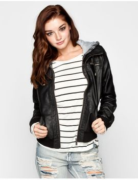 full-tilt-plaid-hood-womens-faux-leather-jacket by tillys
