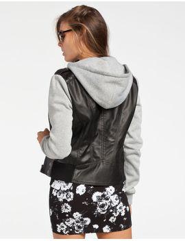 full-tilt-fleece-sleeve-womens-faux-leather-jacket by tillys