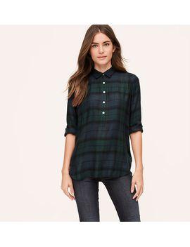 plaid-tunic-softened-shirt by loft