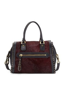 brenda-studded-calf-hair-duffel-bag,-cabernet by oryany