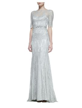 3_4-sleeve-lace-gown-with-beaded-waist,-celadon by theia