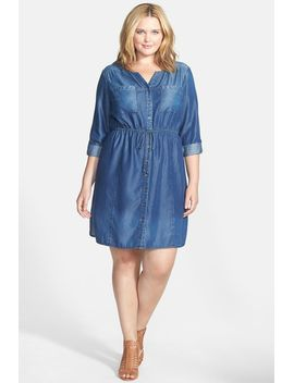 tencel(r)-chambray-roll-sleeve-shirtdress-(plus-size) by sejour