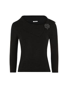 precis-petite-bardot-brooch-jumper,-black by precis-petite