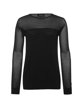 jaeger-sheer-panel-knit-sweater,-black by jaeger
