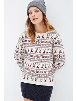 fair-isle-deer-print-pullover by forever-21