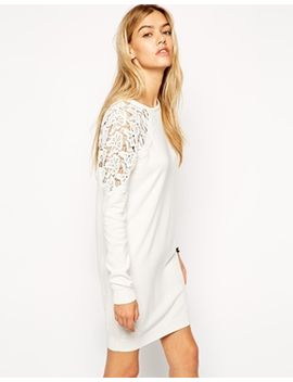 asos-jumper-dress-with-lace-insert by asos-collection