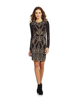 gianni-bini-miranda-metallic-tribal-sweater-dress by generic